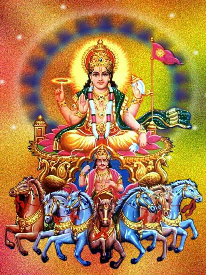 Lord Surya the Sun god in hindu religion picture gallery.